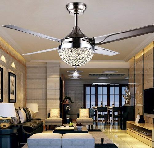 Tropicalfan Crystal Modern Ceiling Fan Remote Control Home ...