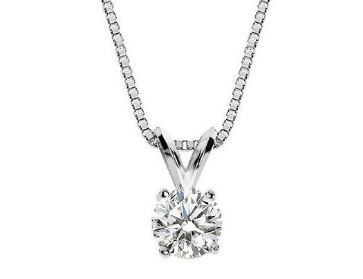 Diamond solitaire pendant necklace 13 carat ctw in 14k white diamond solitaire pendant necklace 13 carat ctw in 14k white gold with aloadofball Images