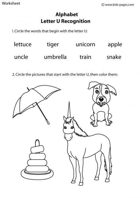 Letter U Recognition worksheets | Worksheets Alphabet | Pinterest ...