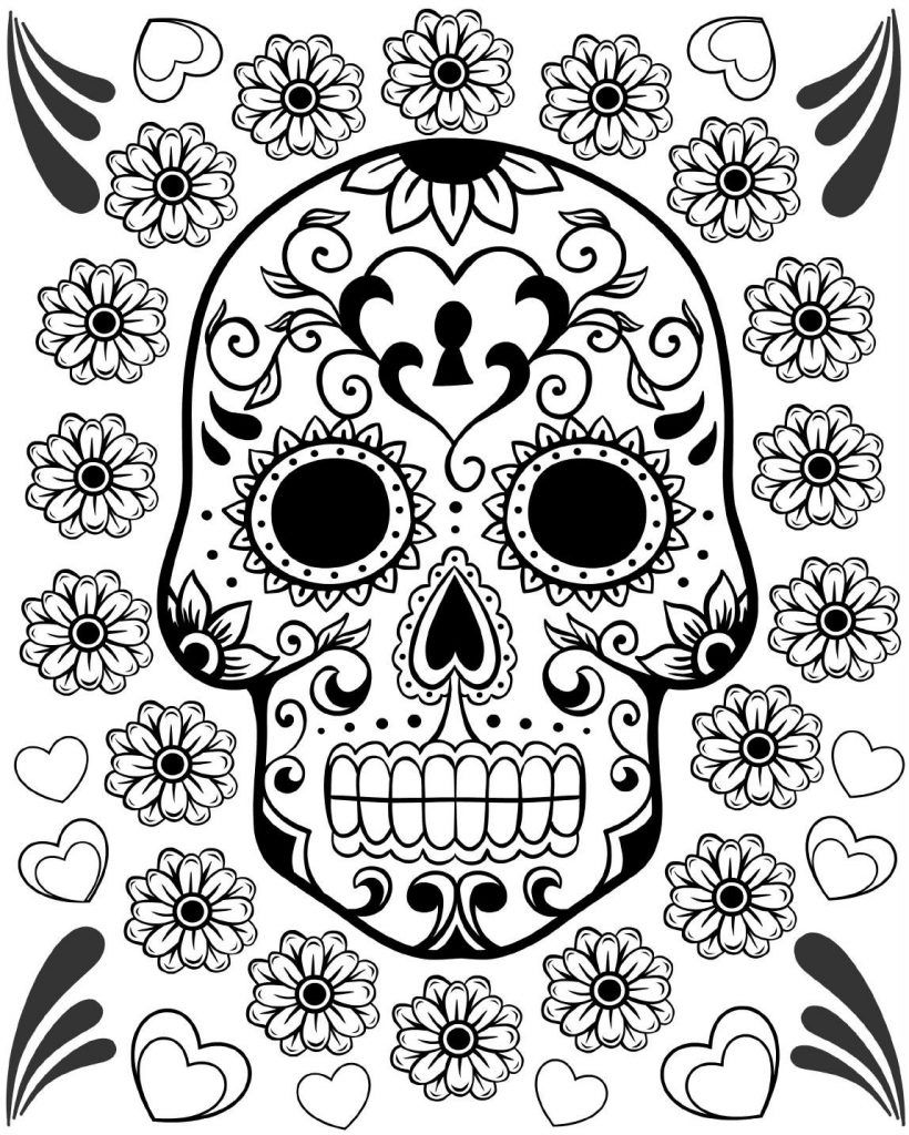 - Free Printable Day Of The Dead Coloring Pages Skull Coloring
