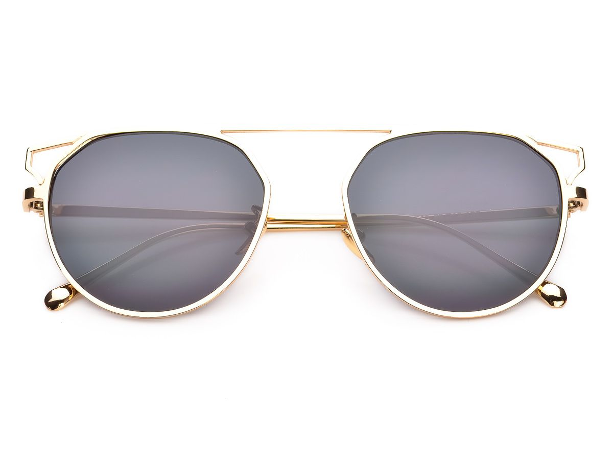 27fd3c59ec9c57 Kultowe okulary przeciwsłoneczne z płaskimi szkłami. Solidna metalowa  oprawa, płaska na górze dodaje okularom
