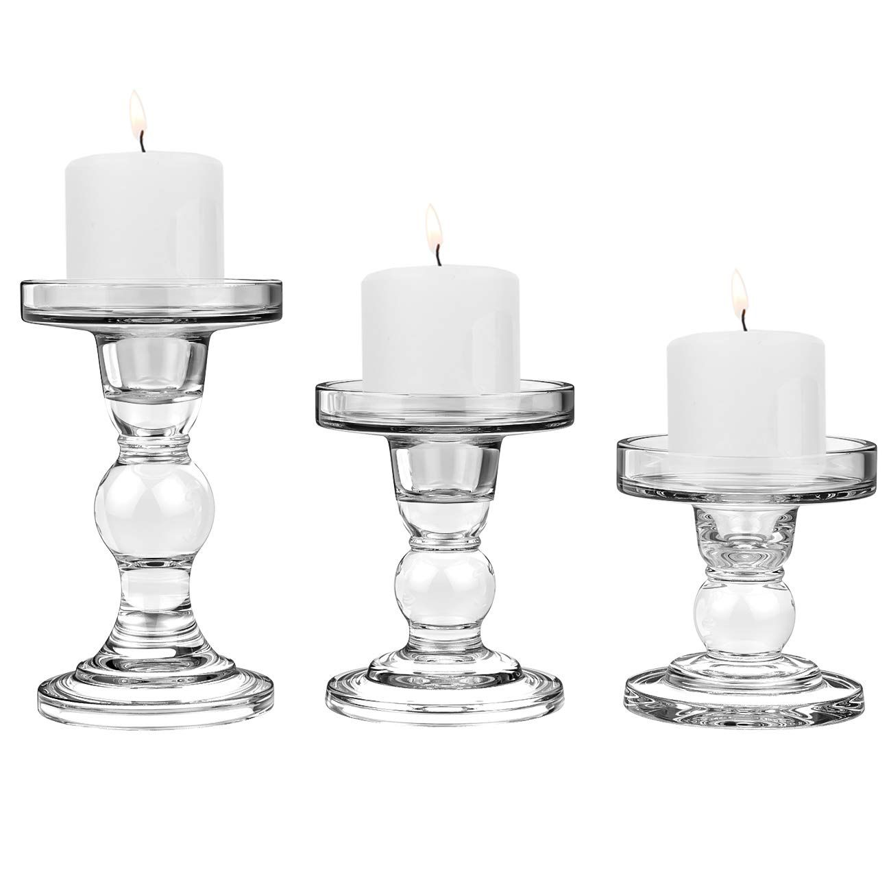 Clear Glass CYS EXCEL Glass Candle Holders for 4 Pillar or 3//4 Taper Candle Candlestick Pack of 2 PCS Candle Holder Height-5 Wedding Decoration