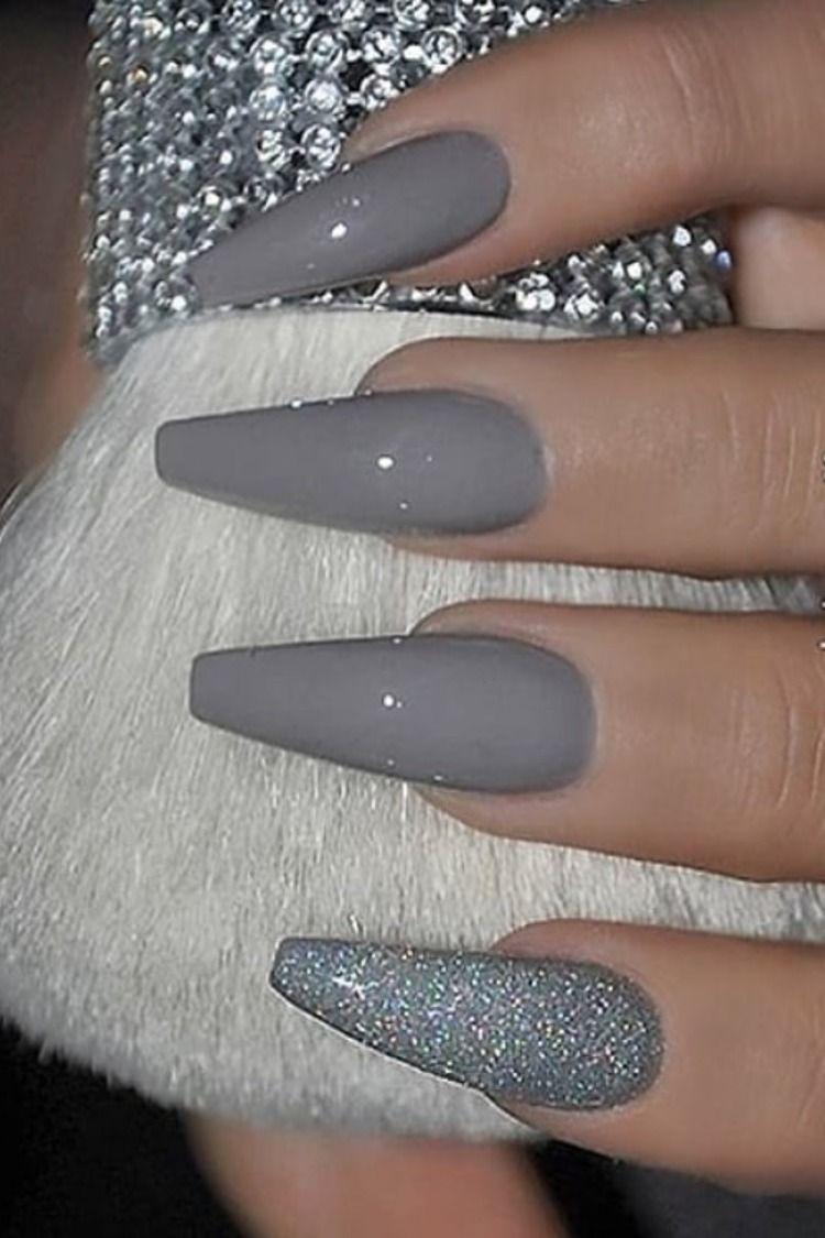 The Best Gray Nail Art Design Ideas Stylish Belles Grey Nail Art Gray Nails Long Acrylic Nails