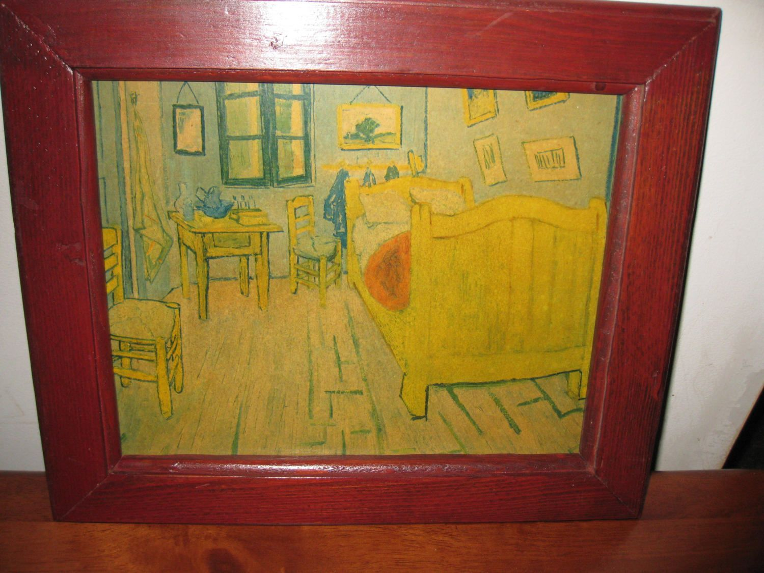 VINTAGE DRAWING Or Print On Masonite Board Bedroom Scene With Bed ...