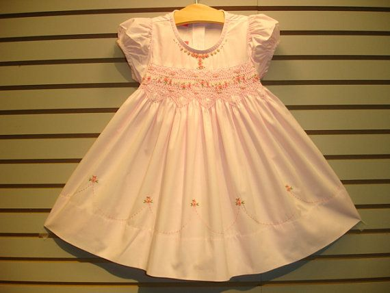 New boutique design hand embroidered smocked Dress - Size  NB 3m 6m 9m 12m 18m 24m  2  Pink