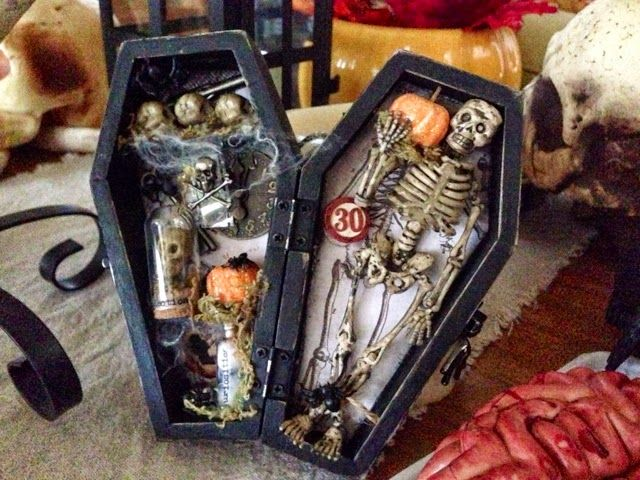 Creepy coffin, I love this one! I saw these little wooden coffins at the $1 Store and had to get one. I ended up making this for a class...