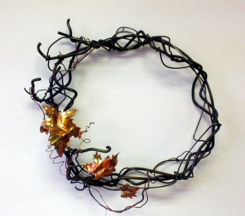 Maple copper and steel Wreath by Carol Kajorinne of Pike Lake Forge.