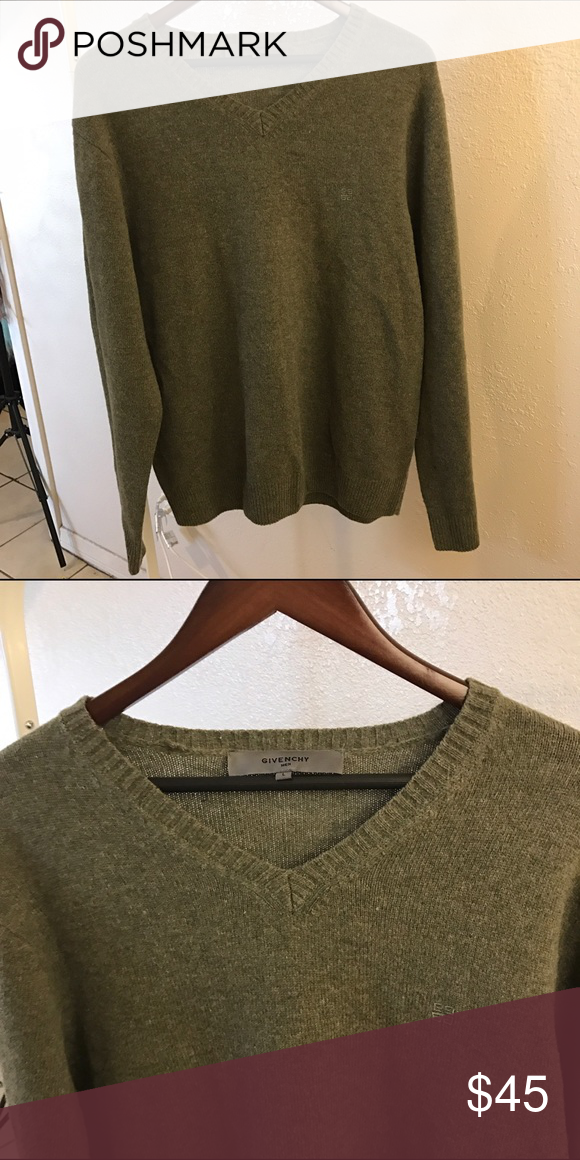 GIVENCHY SZ L SWEATER GREEN DARK OLIVE KNIT 100% authentic Givenchy Sweaters