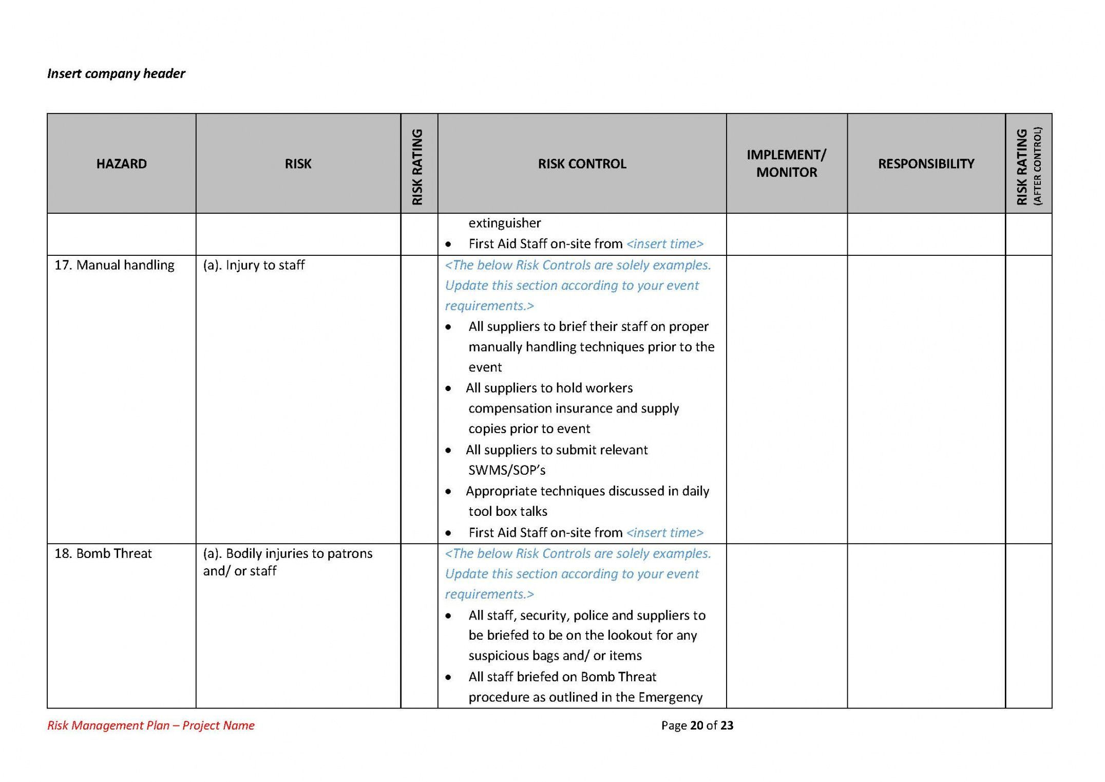 Get Our Example of Risk Assessment Plan Template for Free