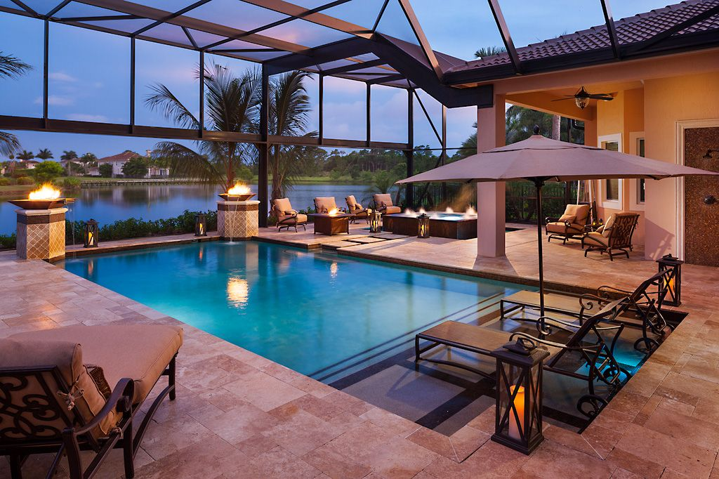 Night Time In The Pool Enclosure Residential Pool Florida Pool Luxury Swimming Pools