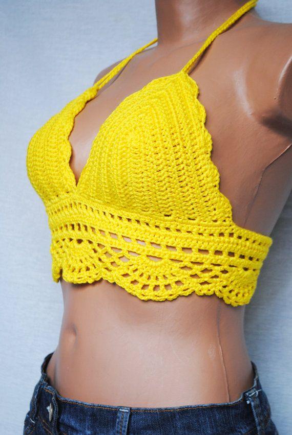 Crochet top, halter top, top bra, beach crochet top, festival top ...