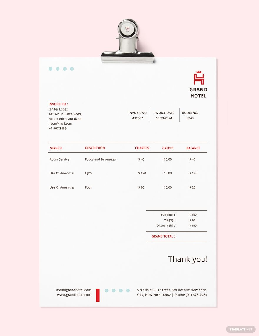 Grand Hotel Invoice Template Free Pdf Google Docs Google Sheets Excel Word Template Net Invoice Template Invoice Template Word Invoice Design