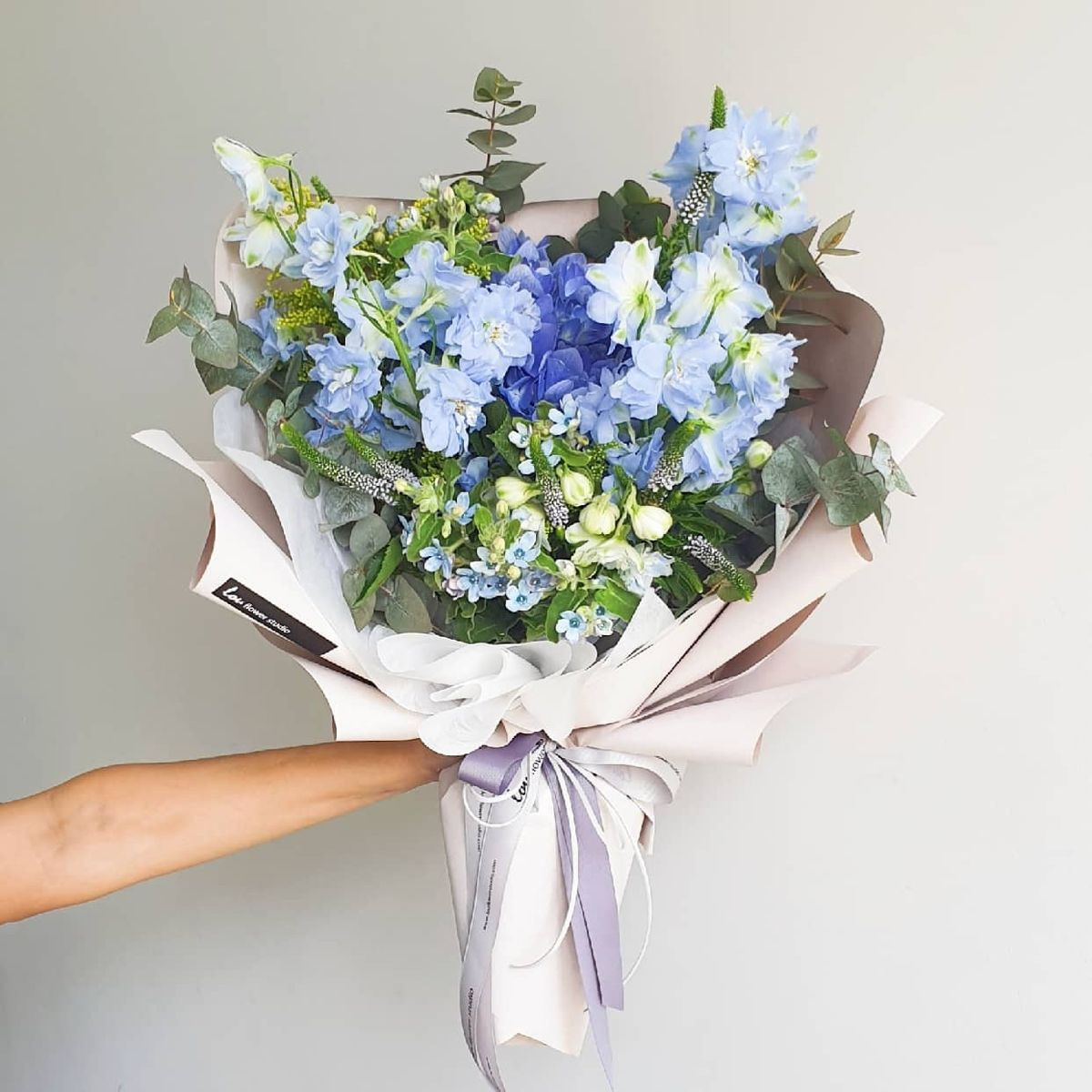 Delphinium And Blue Hydrangea Bouquet In 2020 With Images Blue Hydrangea Bouquet Blue Bouquet Bouquet Delivery