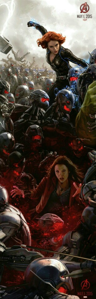 Marvel's The Avengers: Age of Ultron concept art poster: Black Widlow and Scarlet Witch