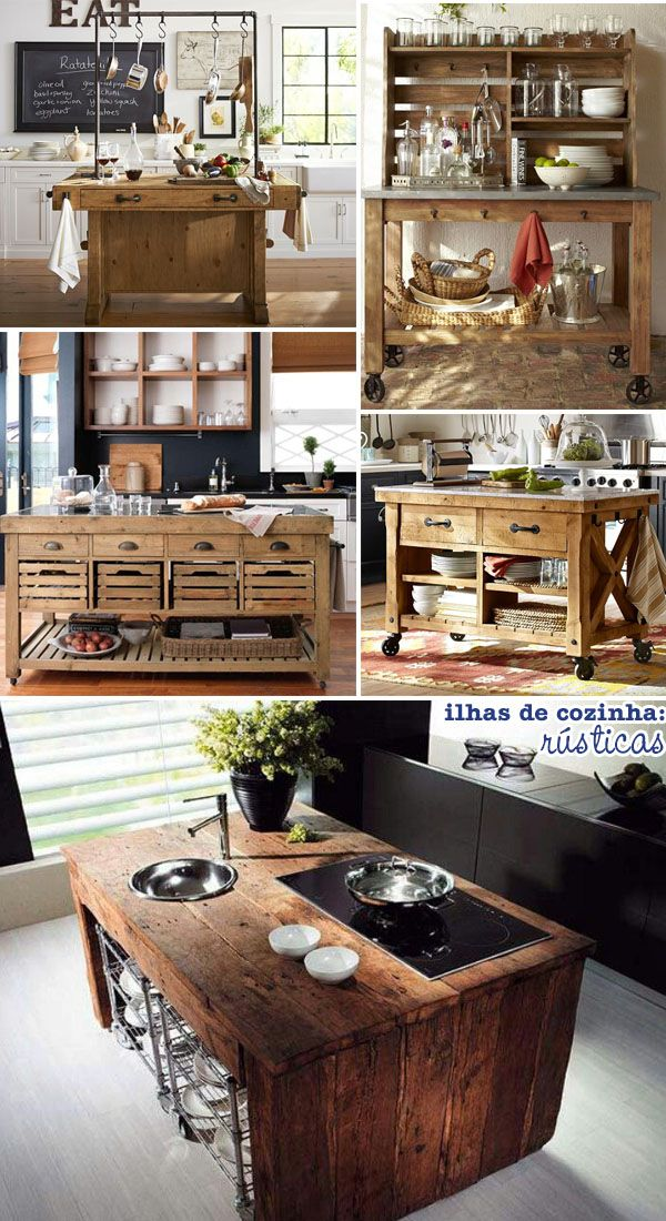 Minha cozinha, minha ilha | Kitchens, Rustic kitchen and Pallets