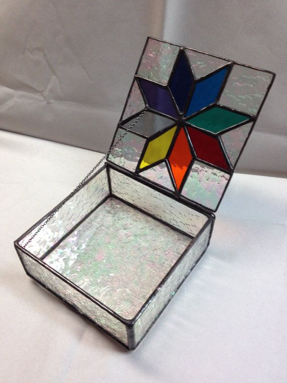e0b4d38e159f Contemporary Stained Glass Jewelry Box - Colorful Star
