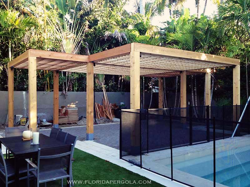 contemporary pergola in surfaced western red cedar. Black Bedroom Furniture Sets. Home Design Ideas