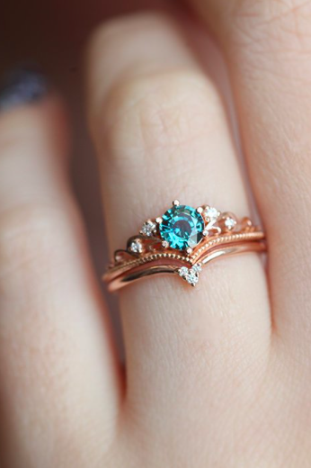 Bella Teal Sapphire Engagement Ring Round Sapphire Ring Set Blue Engagement Ring Rose Engagement Ring Antique Engagement Ring Settings