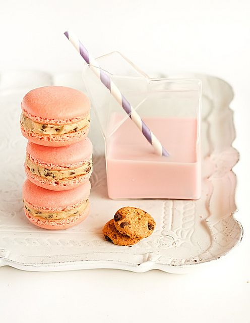 Strawberry Milk Macarons with Cookie Dough Buttercream by raspberri cupcakes, via Flickr