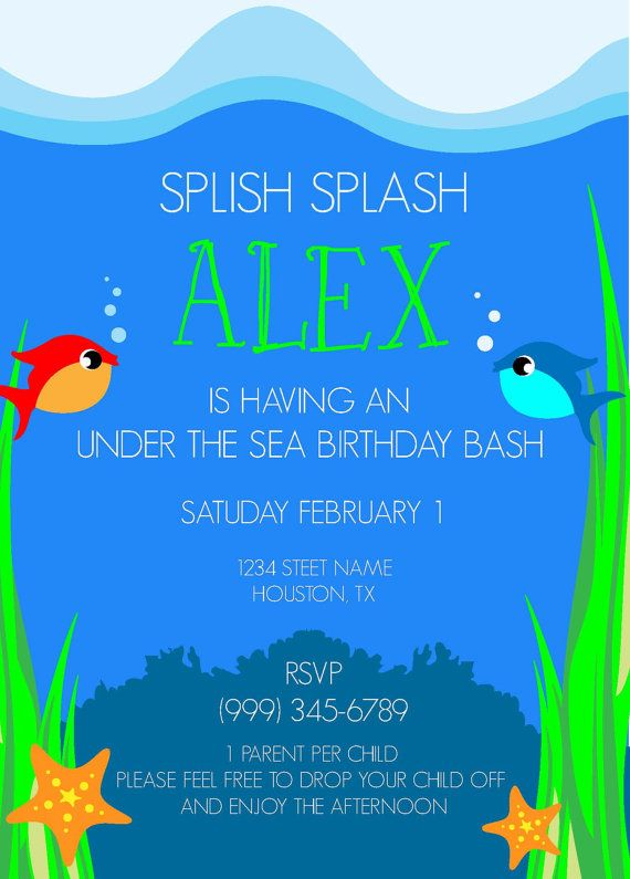 Under the Sea Birthday Party Invitation- Aquarium Theme Birthday - fresh invitation card for first birthday of baby girl