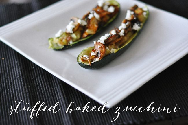 Easy baked zucchini stuffed with sausage, caramelized onions, mushrooms, and goat cheese. {gluten free}