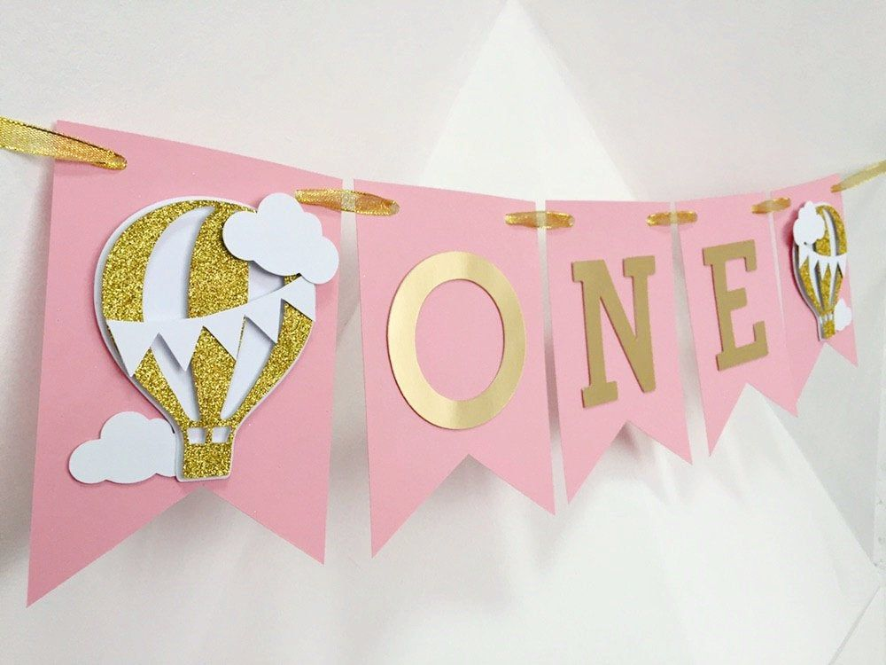 girl happy birthday banner,pink banner One Highchair Banner,Girl Birthday Banner One banner,Pink and Gold ONE Banner,First Birthday Banner