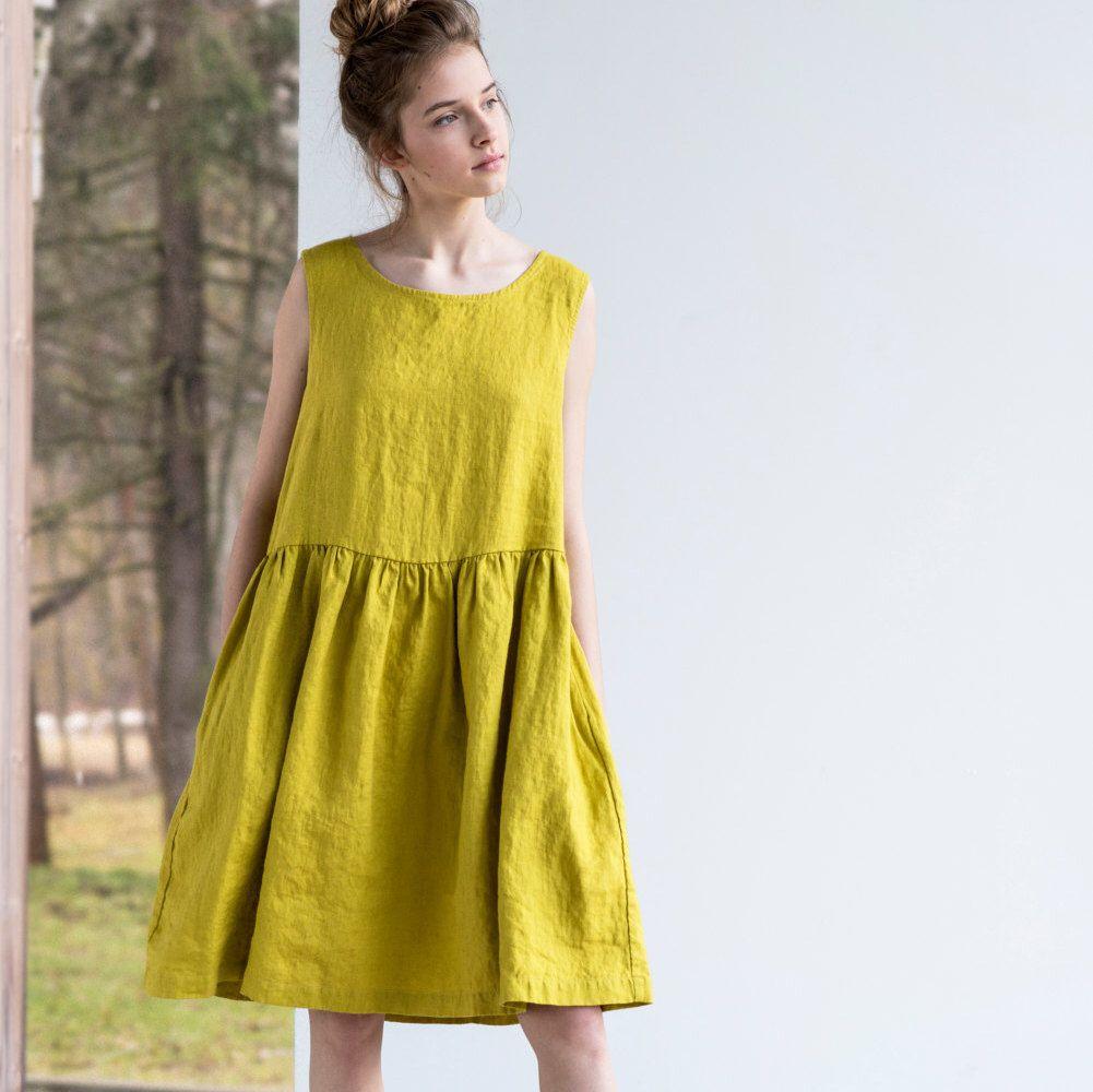 Smock Linen Dress In Midi Length Loose Linen Sleeveless Summer Dress Linen Loose Dress Sleeveless Dress Summer Summer Dresses [ 1000 x 1001 Pixel ]