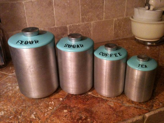 Vintage 1950s Aqua Turquoise Atomic 4 Pc KROMEX Aluminum Canister Set By  Maid Of Honor Mid Century SPACE AGE Kitchen Decor