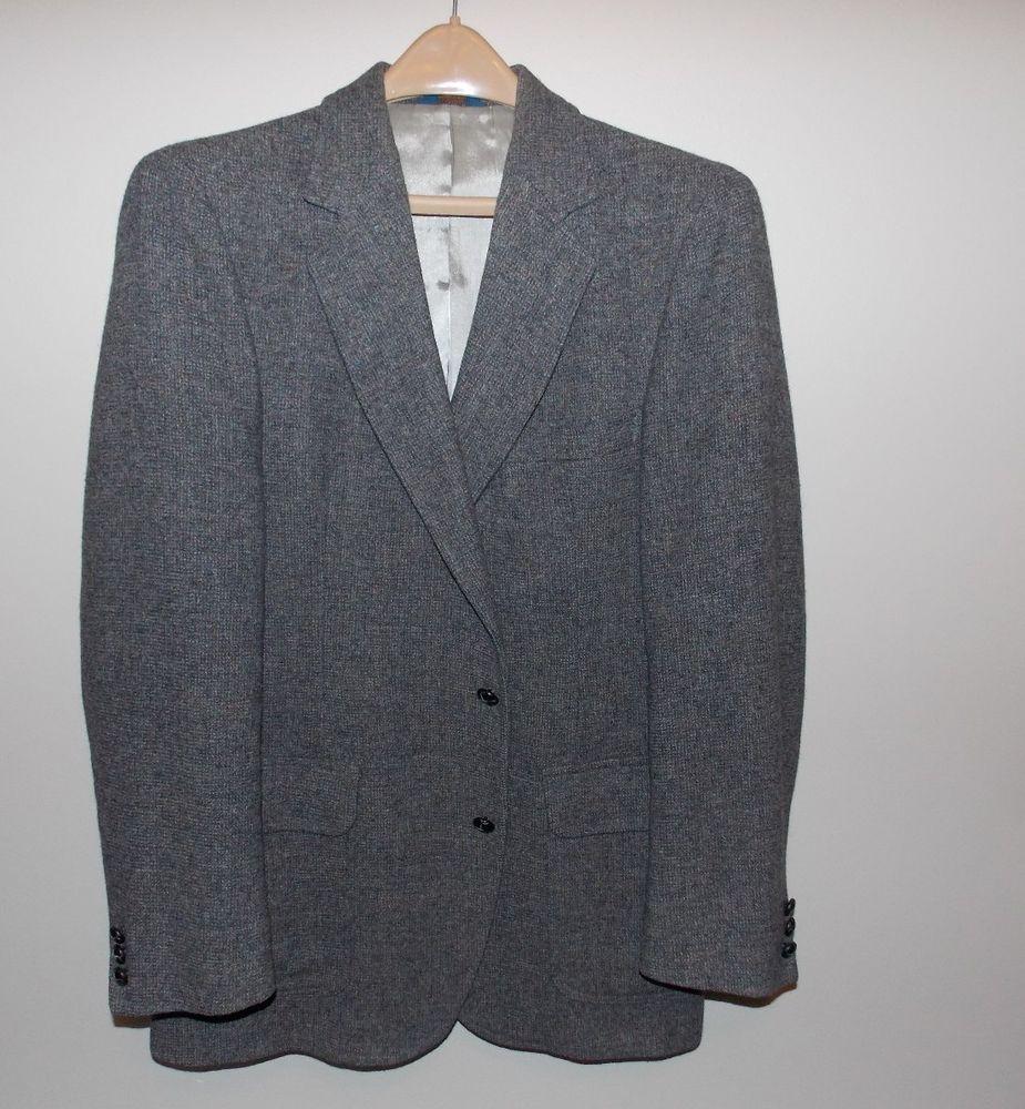 Pendleton Mens Pure Virgin 100% Wool Lined Gray Tweed Sport Coat Blazer 42 L #PendletonWool #TwoButton
