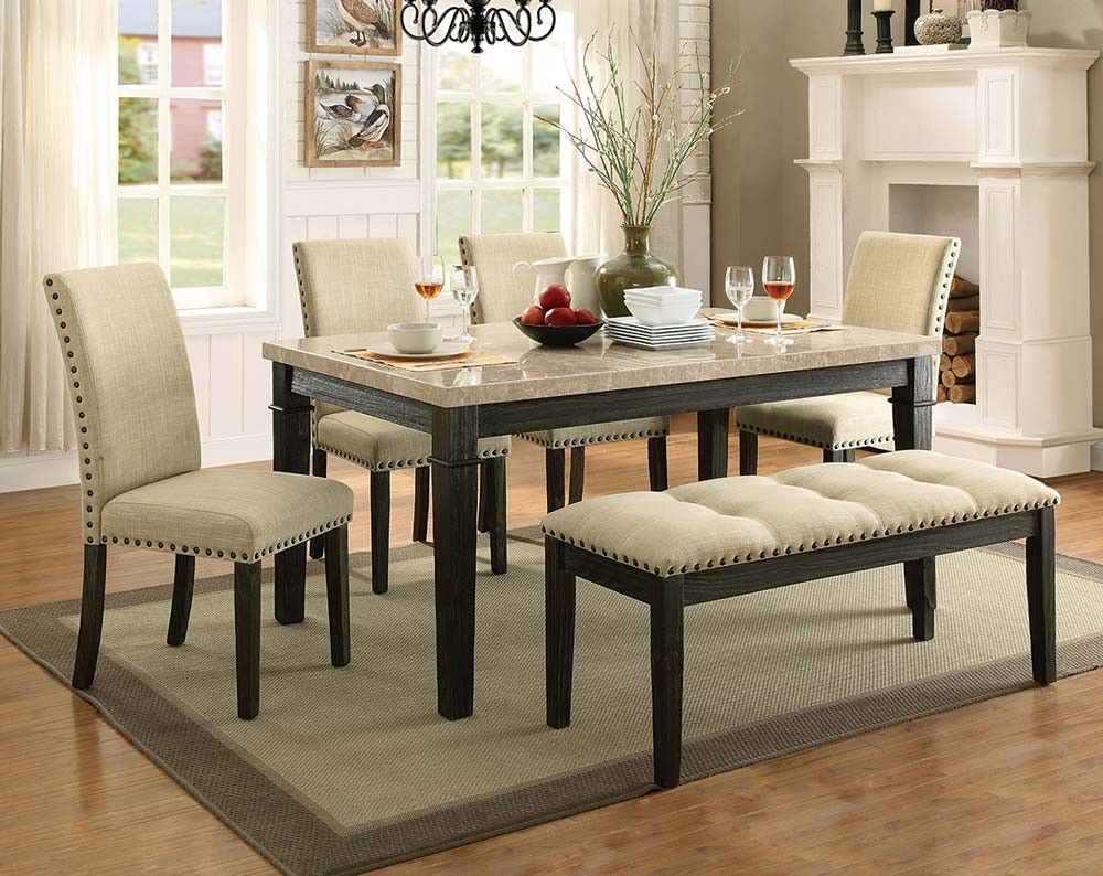 Rustic Formal Dining Room Set Greystone Marble 5 Piece Dining