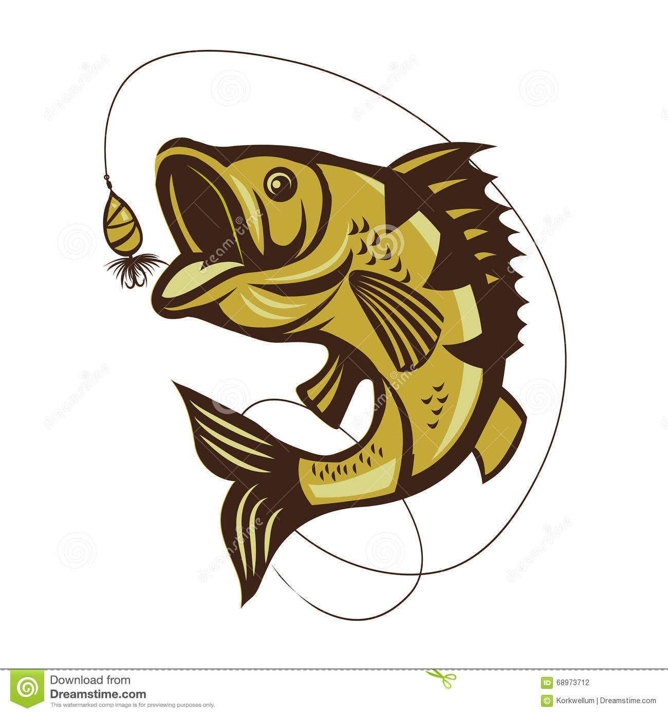Download Catching Bass Fish Fish Color Vector Fish Graphic