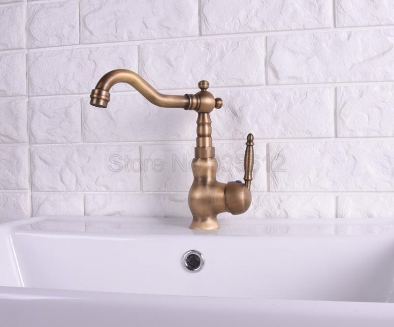 Deck Mounted Kitchen Vessel Sink Sink Bathroom Basin Antique Brass Single Handle Swivel Faucet Mixer Tap Wsh119 Sink Mixer Taps Bathroom Basin Sink