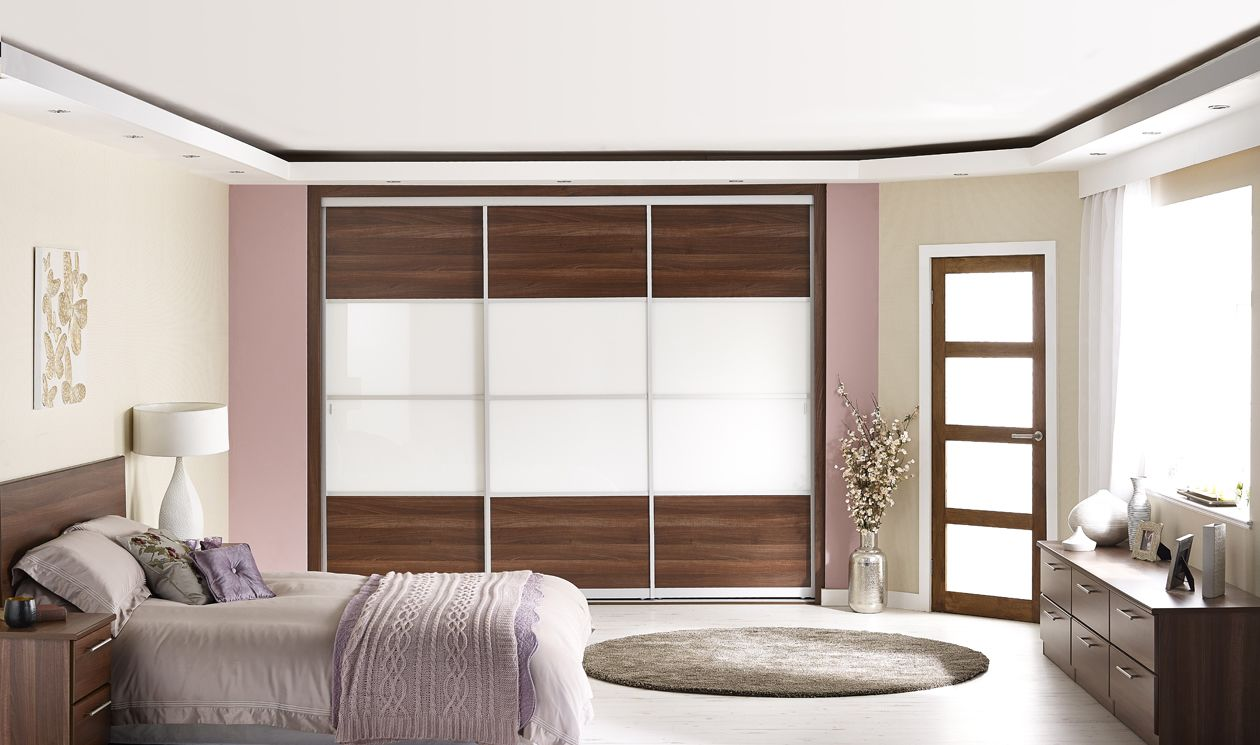 White And Walnut Bedroom Furniture Oriental Walnut And Ice White Glass Sliding Door Wardrobes