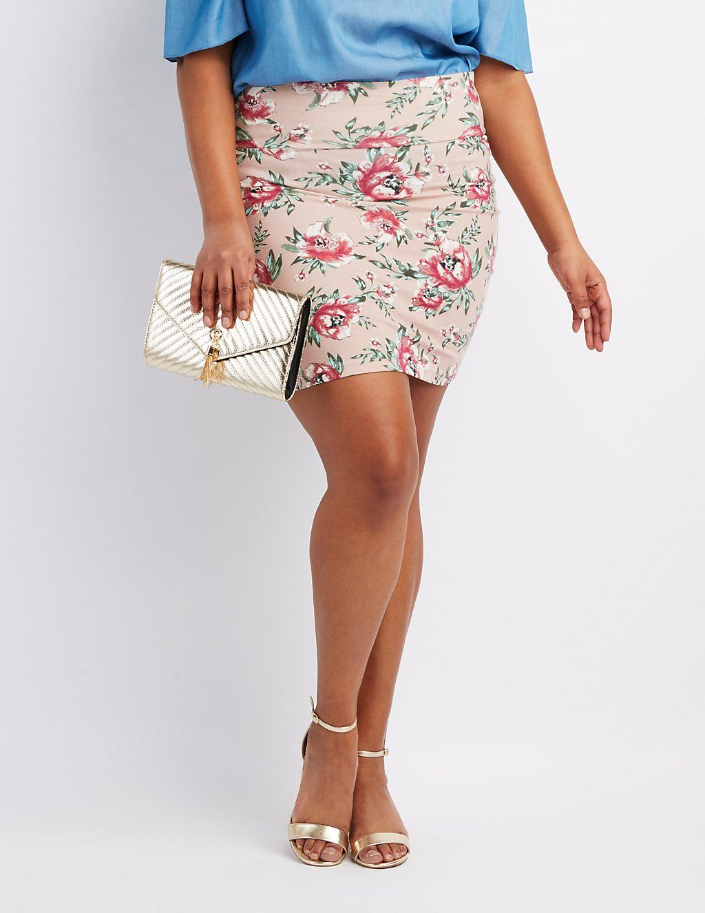 Plus Size Floral Bodycon Mini Skirt | Charlotte Russe