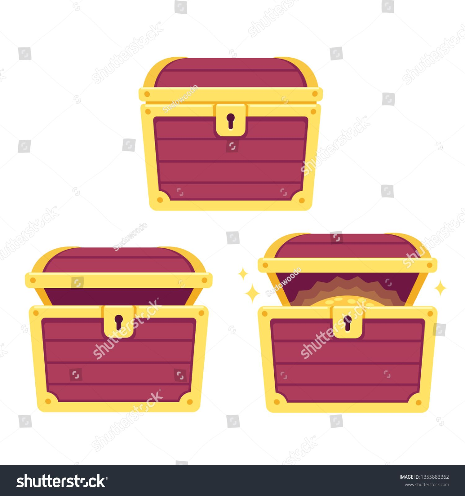 Cartoon Treasure Chest Set Open And Closed Pirate Gold