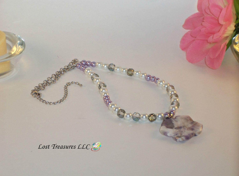 flower purple ladies necklace beaded necklace trending ladies