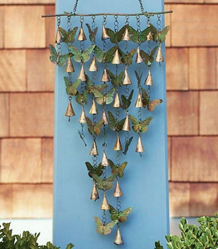Shimmering butterflies u bells wind chime butterfly garden pool art