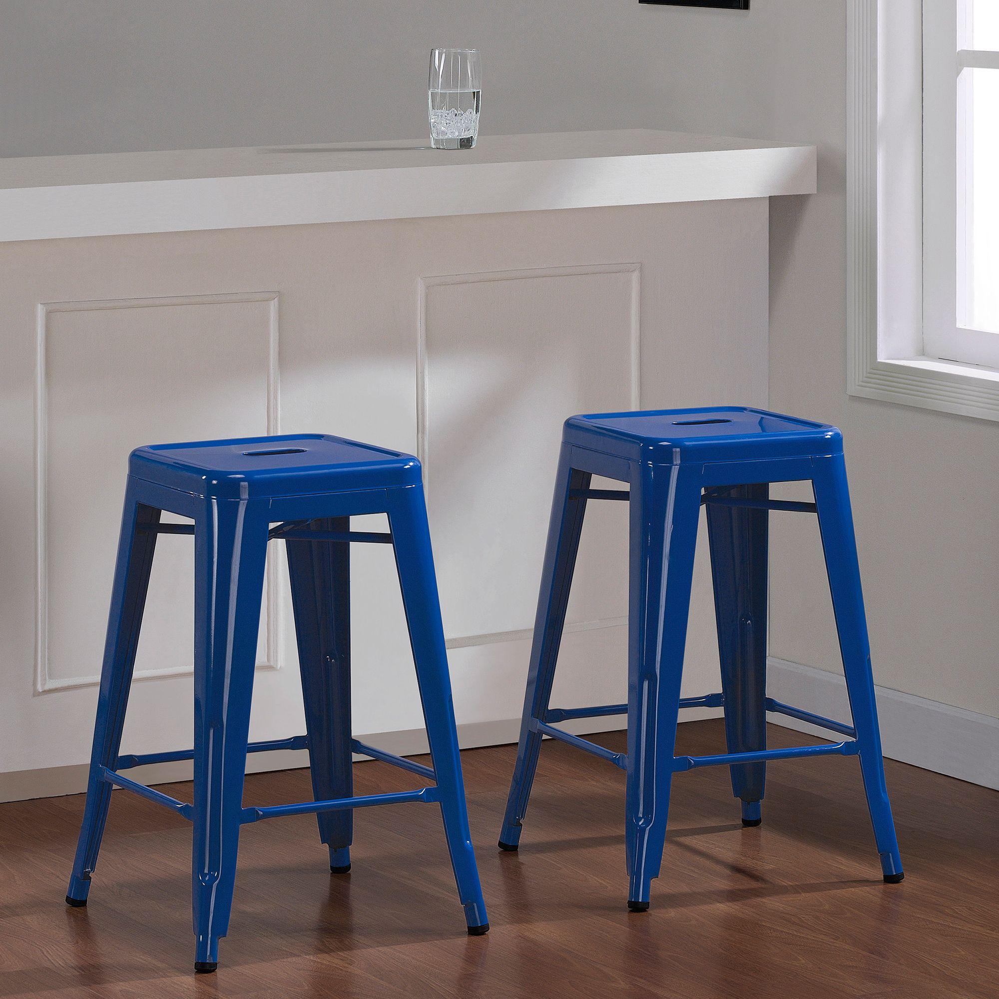 Tabouret 24 inch Baja Blue Metal Counter Stool