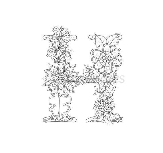 adult coloring page  floral letters alphabet H hand lettering