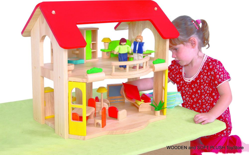 BRAND NEW wooden 2 LEVEL DOLL HOUSE + 5 ROOMS FURNITURE