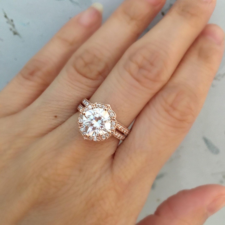 Vintage Floral Forever One Moissanite Engagement Ring