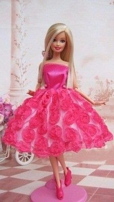 Set of 2 Beautiful Knee Length Dresses in Blue and Pink Made to Fit Barbie Doll