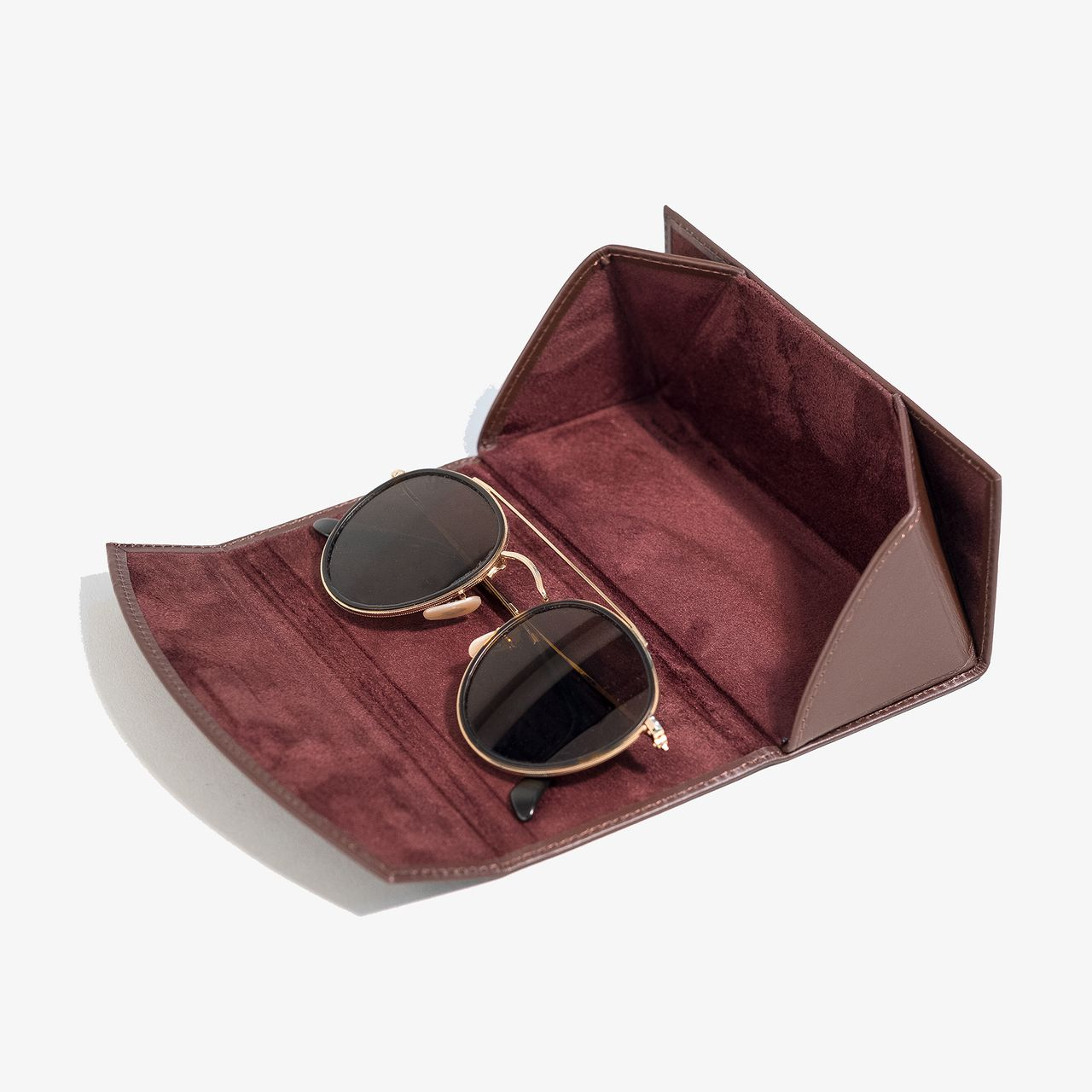 d4e36d4786ff Collapsible Glasses Case - Brown Leather - HOOK   ALBERT