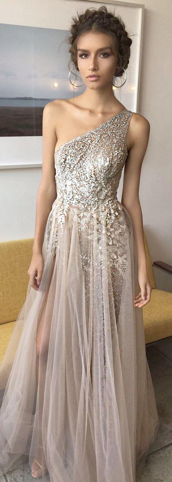 One shoulder shinning side split elegant long prom dresses wg