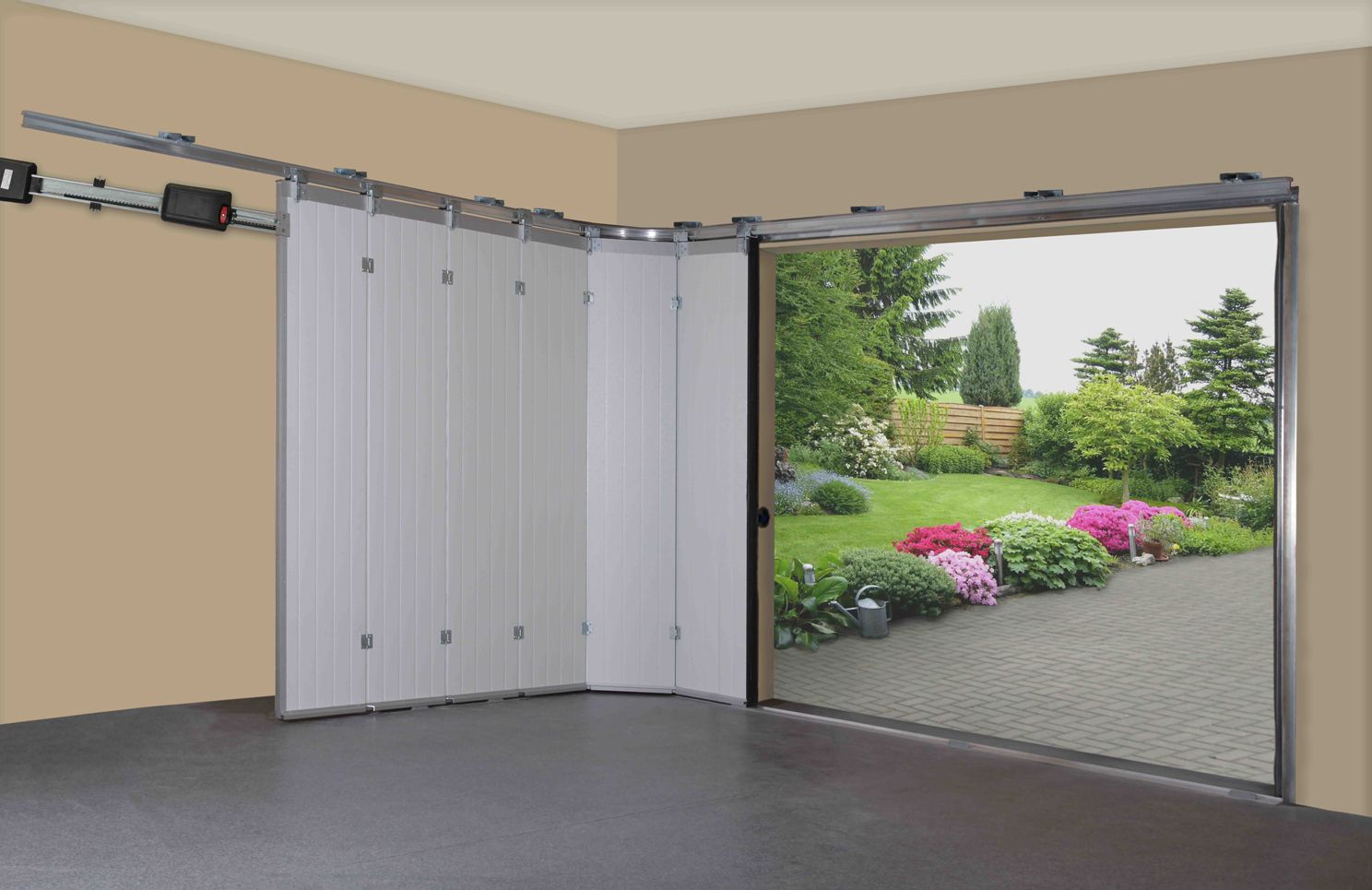 Sliding garage doors garage decor and designs bifold for Sliding glass garage doors