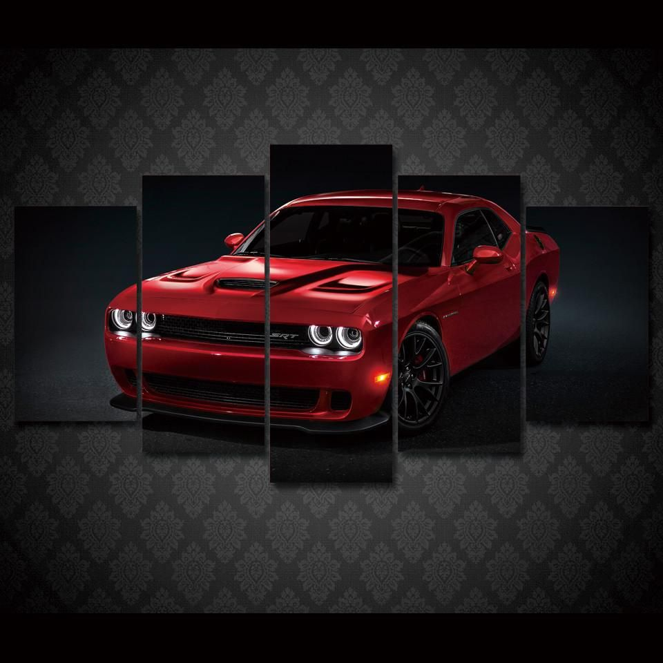 Dodge Challenger Redline Red Srt 5 Piece Printed Wall Art