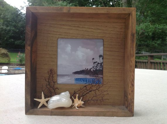 Seashell Wood Shadowbox by TidePoolStudio on Etsy (Home & Living, Home Décor, Picture Frames & Displays, Seashells, Beach, Vacation, Sea fan, Shadow box, Photo frame, Starfish, Coastal, Shabby chic)
