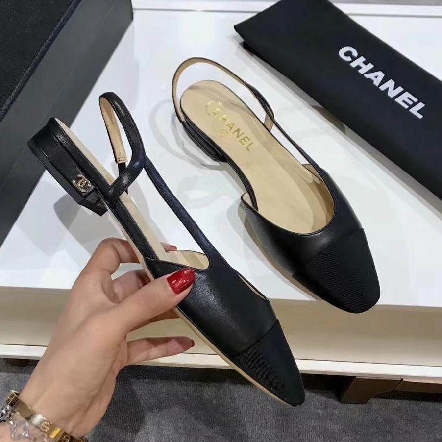 Chanel Slingbacks Grosgrain Cap-toe