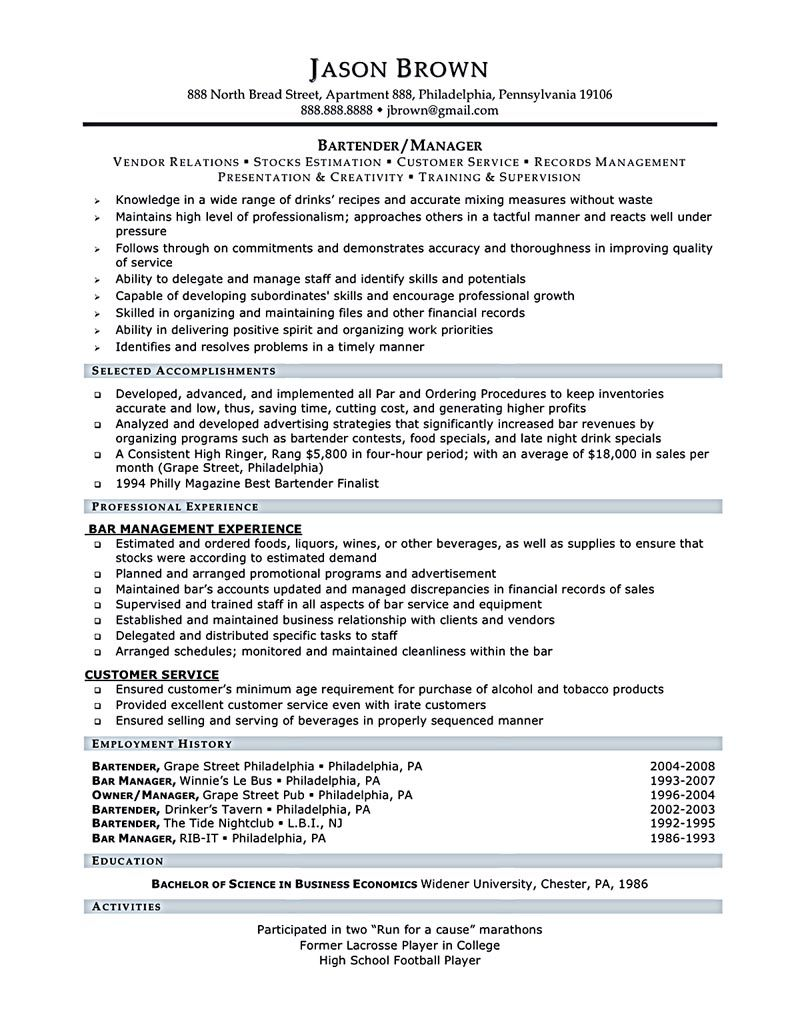Review and Revise Your Bartender Resume Resume examples