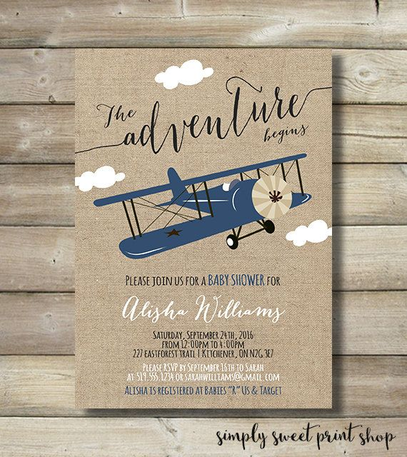 airplane boy baby shower invite invitation by simplysweetprintshop, Baby shower invitations